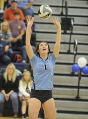 Adena's Makaela Lovely sets the ball during a 3-0 win over Westfall on Tuesday, Oct. 8, 2019 at Adena High School in Frankfort, Ohio.