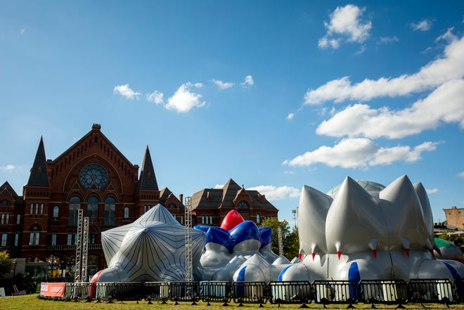 Architects of Air cut each piece of this luminarium sculpture by hand and glued it together to create Dodecalis, which is part of Blink Cincinnati at Washington Park in Over-the-Rhine. Visitors are encouraged to sit and lay down inside to take it all in.