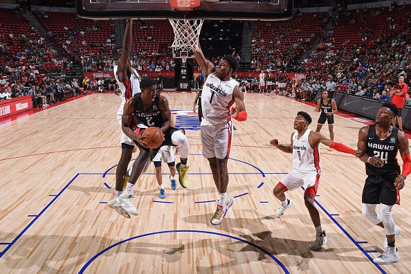 Jordan Sibert of the Atlanta Hawks handles the ball against the Washington Wizards on July 11, 2019 at the Thomas & Mack Center in Las Vegas, Nevada.