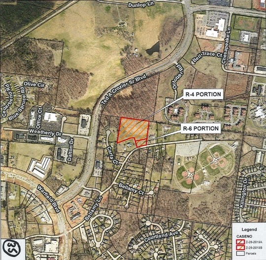 A property on Bellamy Lane was approved for rezoning for about 70 apartment units and some single-family housing at the Clarksville City Council meeting on Thursday, Oct. 3, 2019.