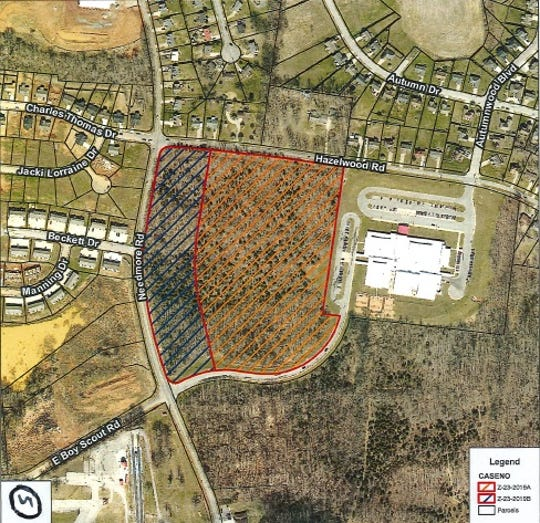One of the properties on Needmore Road that was denied rezoning at the Clarksville City Council meeting on Thursday, Oct. 3, 2019.