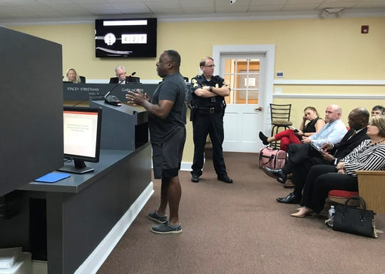 Darrell Jones of Bellamy Lane voices his objections to the rezoning of land next to his during the Clarksville City Council meeting on Oct. 3, 2019.