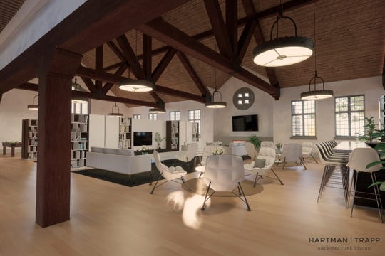 A rendering shows planned common space in the rehabilitated church structure.