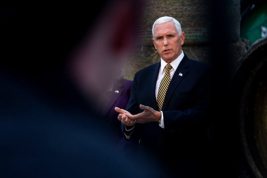 Vice President Mike Pence answers questions from the press after speaking at an America First Policies event on Wednesday, Oct. 9, 2019, at Manning Farms in Waukee.