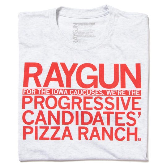 "A RAYGUN shirt that touts the store as the ""Progressive Pizza Ranch."""