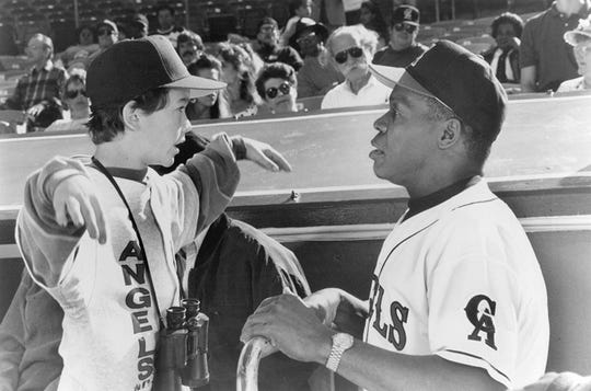 "Joseph Gordon-Levitt and Danny Glover in 1994's ""Angels in the Outfield."""