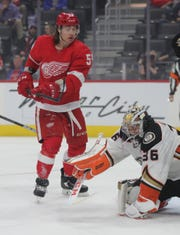 Detroit Red Wings left wing Tyler Bertuzzi (59) looks for a shot against Anaheim Ducks goaltender John Gibson (36) during first period action Tuesday, October 8, 2019 at Little Caesars Arena in Detroit.