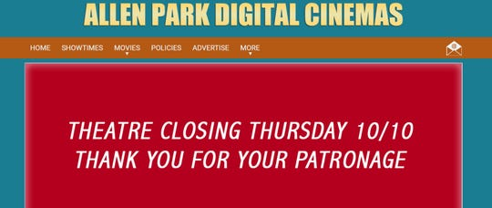 The news was announced on the cinema's website.