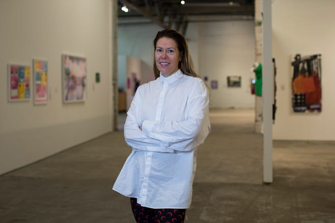 Museum of Contemporary Art Detroit Executive Director Elysia Borowy-Reeder is photographed in the galleries of MOCAD in Detroit, Wednesday, Oct. 9, 2019.