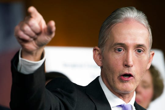 In this June 28, 2016, file photo, U.S. Rep. Trey Gowdy, R-S.C., discusses the release of his final report on the 2012 attacks on the U.S. consulate in Benghazi, Libya. Donald Trump has enlisted Gowdy to work with the White House team combating the U.S. House's impeachment inquiry.