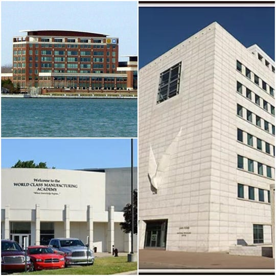 The UAW and Detroit automakers operate three training centers in Metro Detroit. They are (clockwise from top left): the UAW-GM Center for Human Resources in Detroit; the UAW-Ford National Programs Center in Detroit; and the UAW-Chrysler National Training Center in Warren.