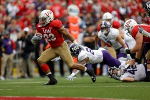 Wisconsin running back Jonathan Taylor (23) has rushed for 745 yards and 12 scores in five games this season.