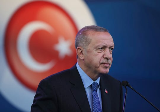 Turkey's President Recep Tayyip Erdogan attends a ceremony to inaugurate a Turkey-financed highway linking Belgrade with Bosnia's capital of Sarajevo in Sremska Raca, some 80 kilometers (49 miles) west of Belgrade, Serbia, during his two-day official visit, Tuesday, Oct. 8, 2019.