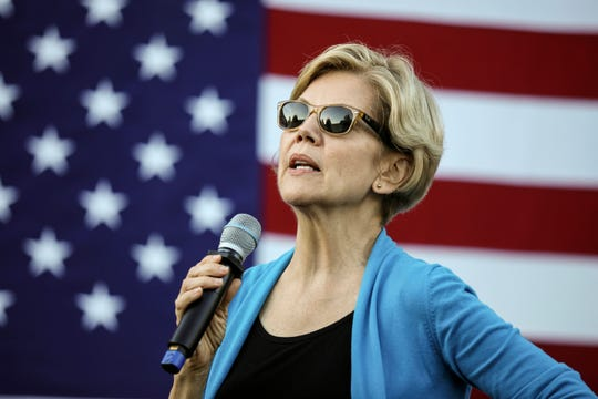 Democratic presidential candidate Sen. Elizabeth Warren, D-Mass., speaks at a campaign event Friday, Sept. 27, 2019, in Hollis, N.H.