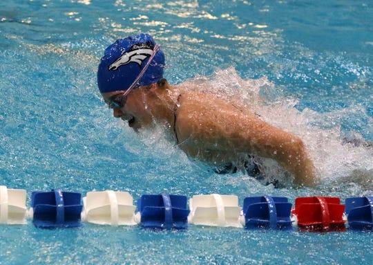 Horseheads junior Sophia Verkleeren swims the butterfly at practice Oct. 8, 2019 at Horseheads High School.