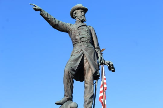 A statue of Union Gen. James McPherson greets visitors to the McPherson Cemetery in Clyde.
