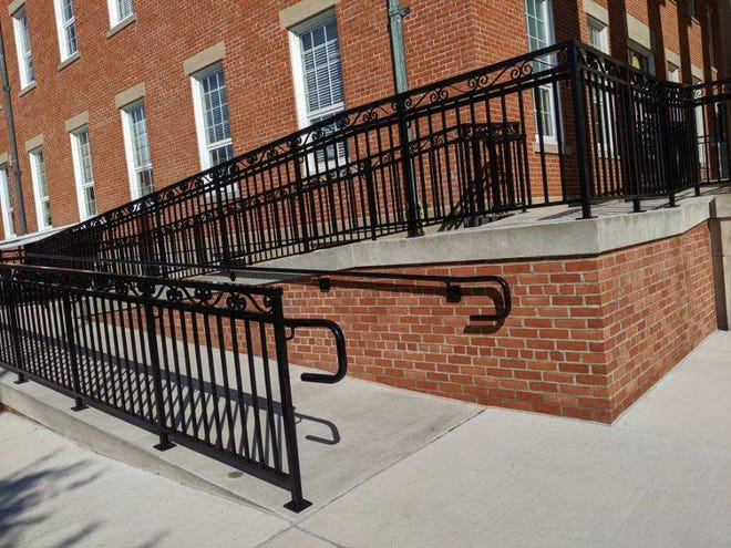 The new courthouse ramp is open to the public, featuring brick work to match the 175-year-old building.