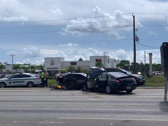 A multi-car crash shut down Daniels Parkway at Gateway Boulevard on Wednesday morning.
