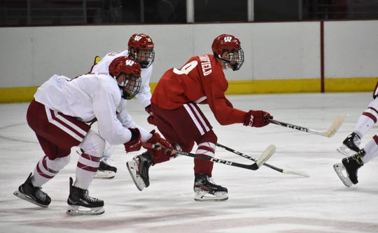 Brock Caufield, back, and Cole Caufield, right, are excited to be playing together again for the Wisconsin Badgers.