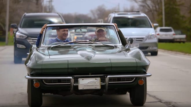 """Brett Favre is behind the wheel and Peyton Manning is riding shotgun in Bart Starr's 1967 Corvette during a visit to Green Bay for an episode of """"Peyton's Places"""" that debuts Sunday on ESPN+."""