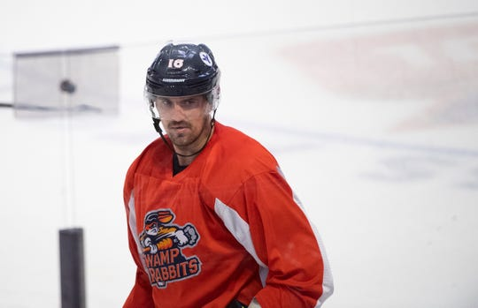 Nathan Perkovich practices with Swamp Rabbits at Bon Secours Wellness Arena Wednesday, Oct. 9, 2019.