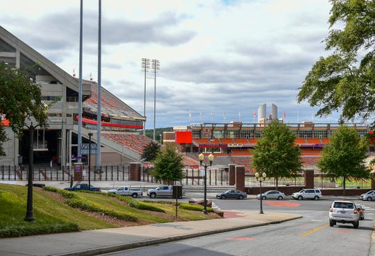 Clemson University's Memorial Stadium showing the East end and on the far side the West end zone with Oculus Wednesday, October 9, 2019.