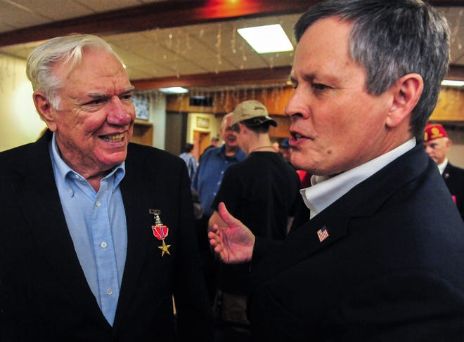 Army veteran Alfred Shryer is officially presented the Bronze Star medal by Senator Steve Daines during a ceremony on Wednesday afternoon at the VFW Post 1087 in Great Falls.  Shryer was awarded the medal 46 years ago for his service in Vietnam but he was unaware of this award citation and never officially received his medal.