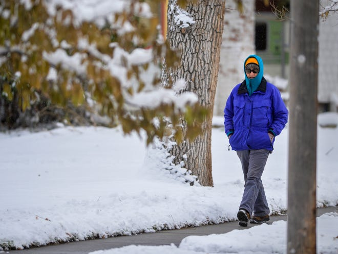 A storm system dropped 9 inches of fresh snow in Great Falls, Montana from Tuesday afternoon through Wednesday morning, October 9, 2019. Temperatures are expected to drop to near-record lows for Thursday and Friday.