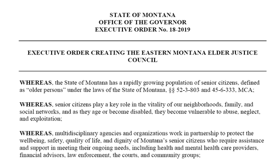 Gov. Steve Bullock signs this executive order on Wednesday.