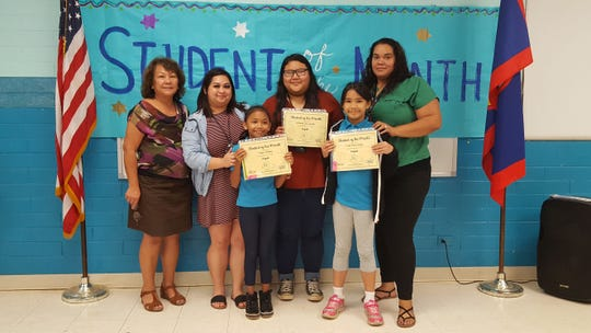 Guahan Academy Charter School's August Student of the Month awardees on Sept. 26. Pictured in front row: Payton Sholing, and Lucia Terlaje. Back row: Teresita Cruz, Jennie Barroga, Ritacia Fegurgur and Ashlynn Manuel. Not pictured: Mikeala San Agustin.