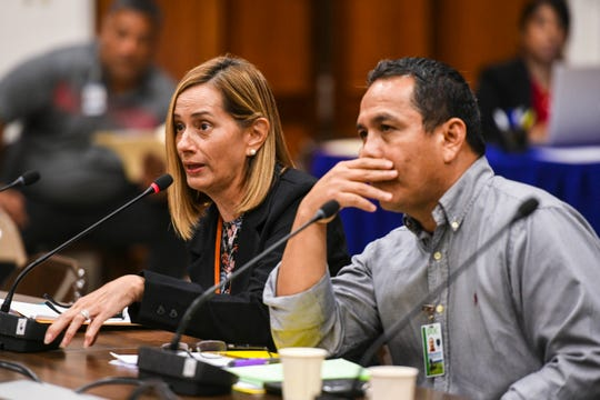 Department of Corrections Director Samantha Brennan, left, sits by acting Deputy Director Joe Carbullido as they field questions from senators in this file photo. The pair were before lawmakers again on Wednesday, Nov. 6, 2019. PDN file photo.