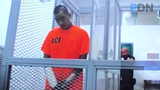 Jeromy John Pangelinan appears in court on Oct. 9 to face charges of aggravated assault, assault against a peace officer, drug possession and eluding a police officer. Pangelinan was shot by police after leading police in a chase through Dededo on Sept. 30, 2019.