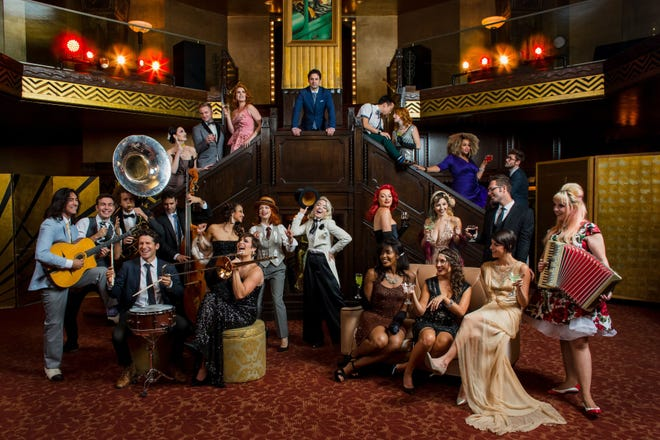 Scott Bradlee (top) created the musical ensemble Postmodern Jukebox in 2009, performing popular modern music in vintage styles such as jazz, swing and ragtime. The collective hits the Preston Arts Center stage in Henderson at 7:30 p.m. Friday, Oct. 18.