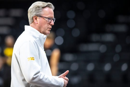Iowa head coach Fran McCaffery talks with players during an open practice following the Hawkeyes men's basketball media day, Wednesday, Oct., 9, 2019, at Carver-Hawkeye Arena in Iowa City, Iowa.