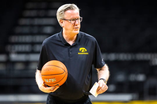 Iowa head coach Fran McCaffery calls out to players during an open practice following the Hawkeyes men's basketball media day, Wednesday, Oct., 9, 2019, at Carver-Hawkeye Arena in Iowa City, Iowa.