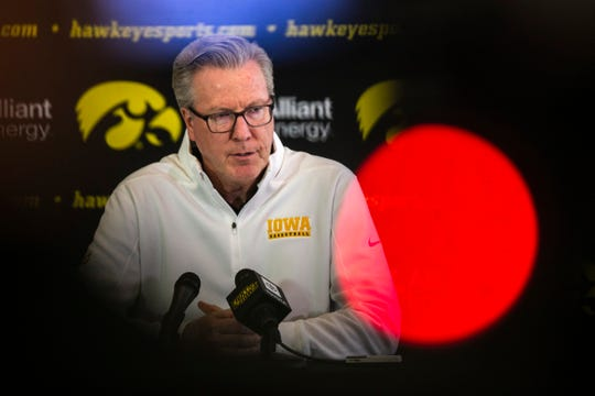 Iowa head coach Fran McCaffery speaks with reporters during Hawkeyes men's basketball media day, Wednesday, Oct., 9, 2019, at Carver-Hawkeye Arena in Iowa City, Iowa.