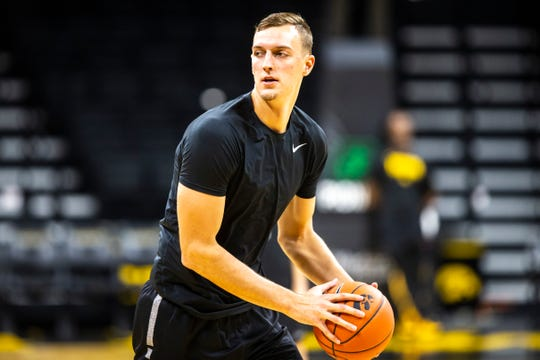 Iowa forward Jack Nunge (2) warms up during an open practice following the Hawkeyes men's basketball media day, Wednesday, Oct., 9, 2019, at Carver-Hawkeye Arena in Iowa City, Iowa.