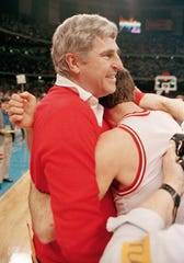 March 30,1987: Indiana coach Bob Knight embraces Steve Alford after winning the NCAA Championship over Syracuse at the Superdome.