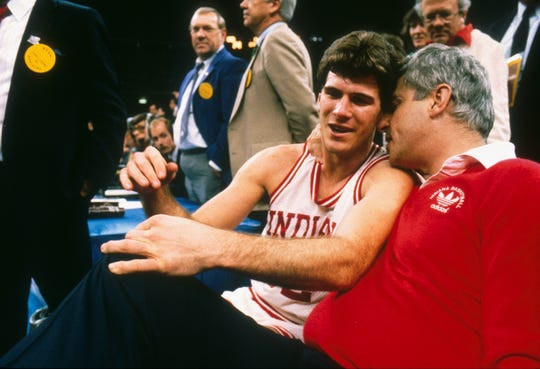 March 30 1987: Indiana coach Bob Knight with Steve Alford during the NCAA National Basketball Championship in New Orleans LA Louisiana Superdome. Indiana defeated Syracuse 74-73 to win the title. MANDATORY CREDIT: Rich Clarkson/NCAA Photos
