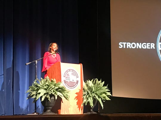 "Indianapolis Public Schools Superintendent Aleesia Johnson giving the ""State of the District"" address, Wednesday, Oct. 10, 2019 at Shortridge High School."