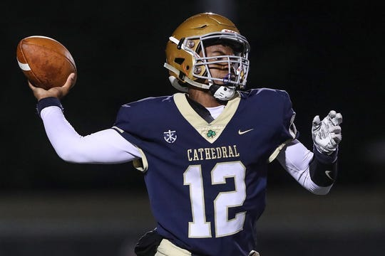 Orin Edwards leads Cathedral into a Week 8 game at Brebeuf Jesuit.