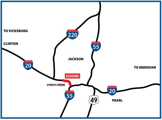 Construction is underway on the Lynch Creek bridge on  I-20 eastbound between Ellis Ave. and Terry Road. Work on bridge westbound will begin. Oct. 25.
