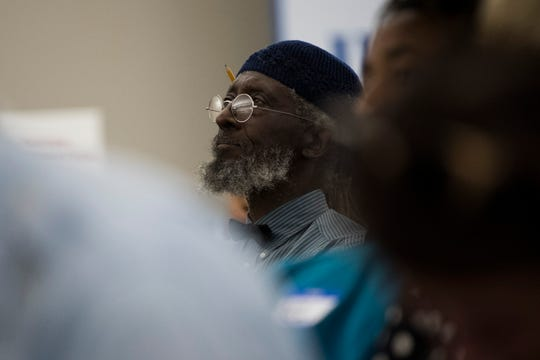 Zimbabwe U. Matavou listens during a mayoral forum sponsored by the League of Women Voters at the Knoxville News Sentinel Tuesday, Oct. 8, 2019.