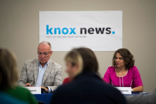 Mayoral candidate Indya Kincannon, right, speaks at a forum put on by the League of Women Voters at Knox News Tuesday, Oct. 8, 2019. Her opponent, Eddie Mannis, is on the left.