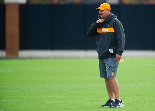 Tennessee head coach during Tennessee's football practice on Wednesday, October 9, 2019 at the Anderson Training Center.