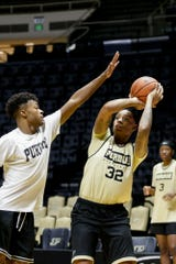 Purdue forward Ae'Rianna Harris (32) goes up for two during practice, Wednesday, Oct. 9, 2019 at Mackey Arena in West Lafayette.