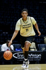 Purdue guard Dominique Oden (11) dribbles down the court during practice, Wednesday, Oct. 9, 2019 at Mackey Arena in West Lafayette.