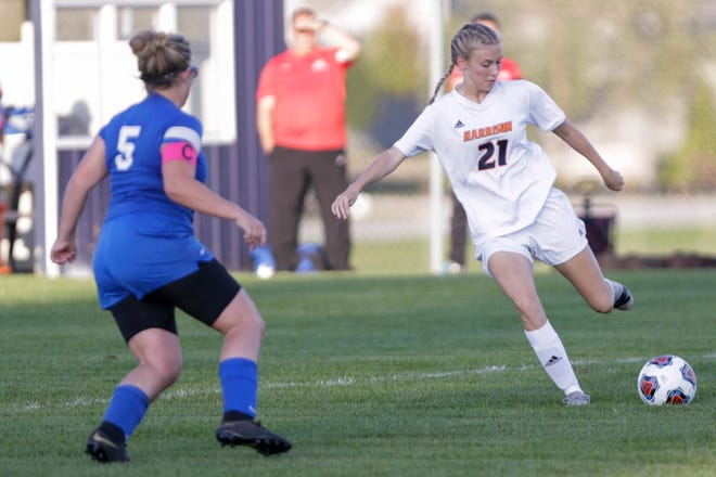 Harrison's Jaiden Sheets (21) kicks the ball during the first half of an IHSAA girls soccer sectional match, Tuesday, Oct. 8, 2019 in West Lafayette. Harrison won, 4-0.