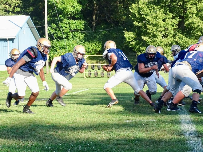 Lancaster football team practicing on Tuesday as it prepares to face Pickerington Central Friday.
