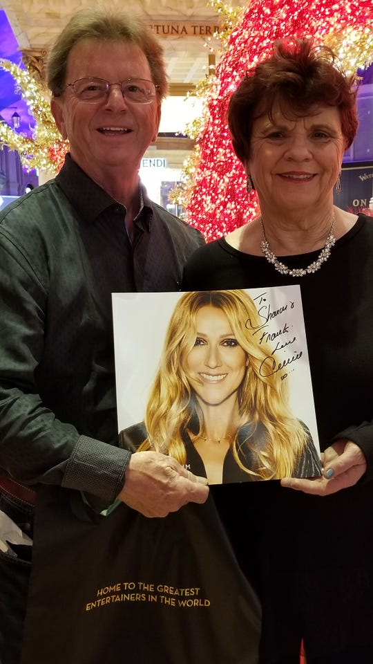 Frank and Sharron Smith with program signed by Celine Dion.  Las Vegas, Nevada  January 16, 2019